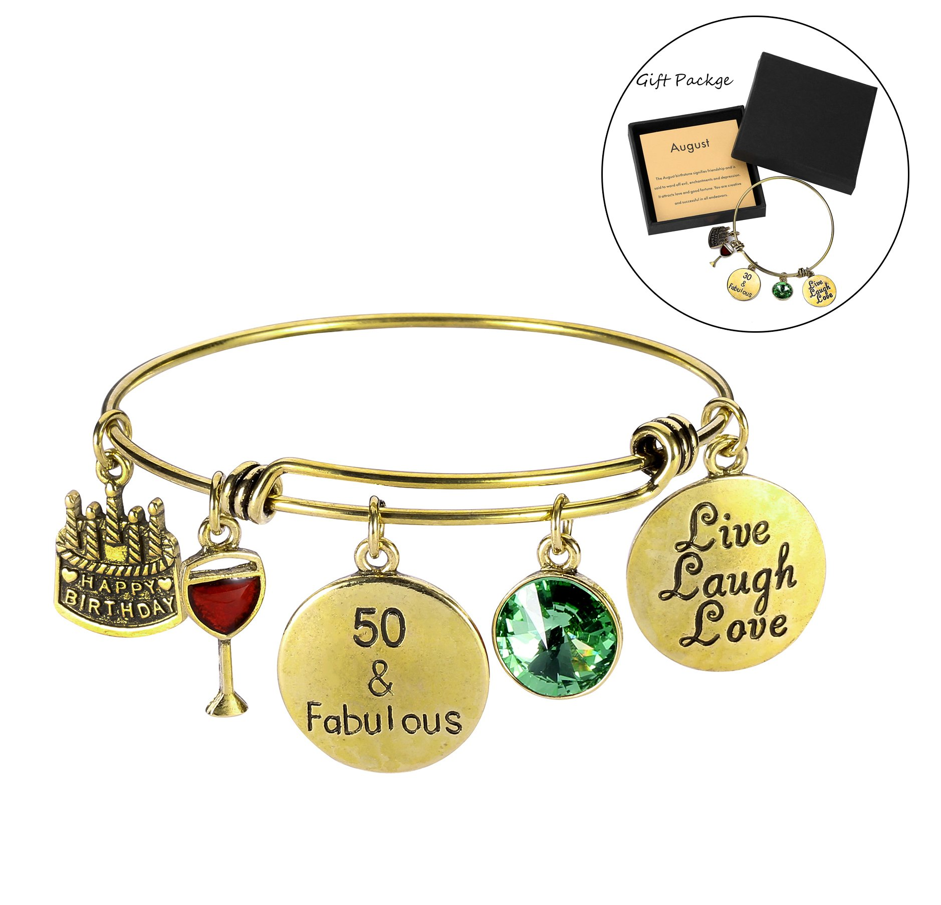 50th Birthday Gift Bangles Live Laugh Love Charms Birthstone Expandable Bangle Bracelets with Message Card for Women