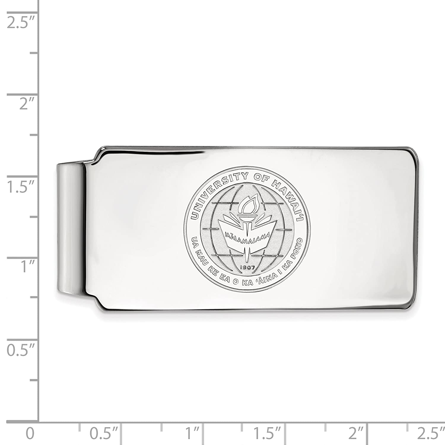 Money Clip Crest 10k White Gold LogoArt Official Licensed Collegiate The University of Hawaii UW