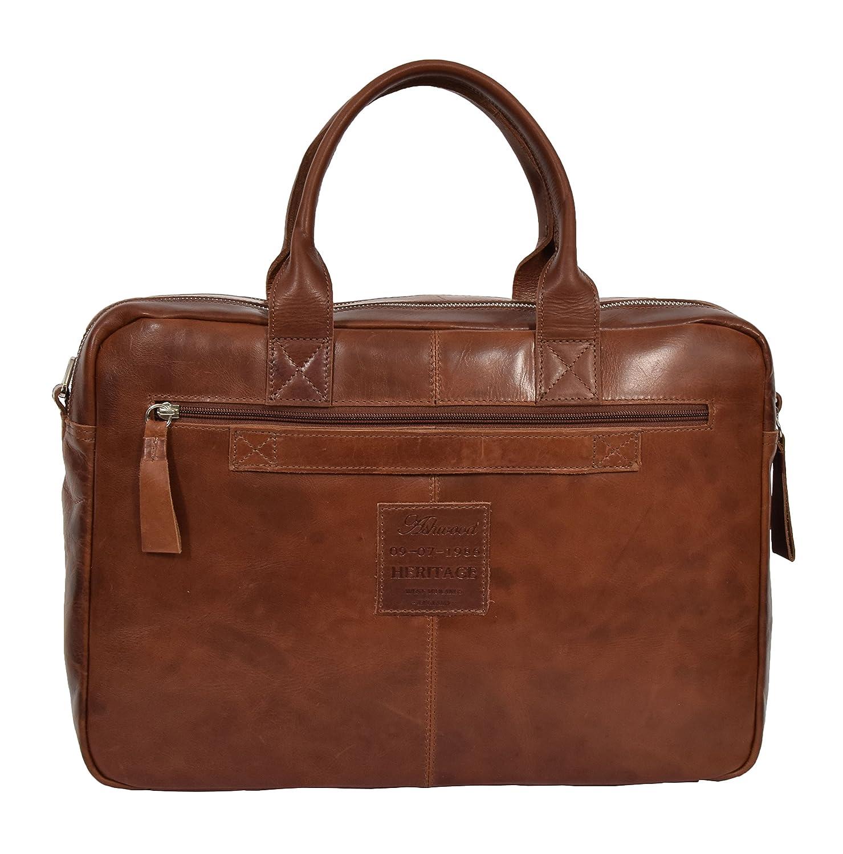 Real Leather Vintage Briefcase Cross Body Organiser Work Laptop Bag Mason Tan