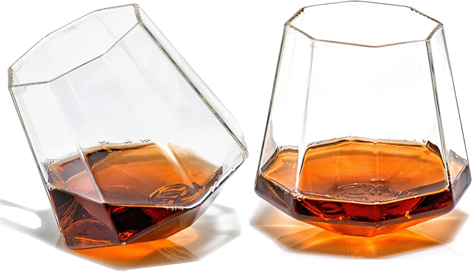 Diamond Whiskey Glasses - Rocks Glass for Rum, Tequila, Scotch Glasses - Whiskey Gifts - 10oz Cocktail, Lowball, Old Fashioned Glass (Set of 2) Unique Bar Decor & Bourbon Gifts by Prestige Decanters