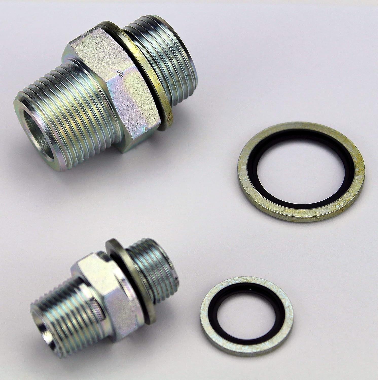 Hydraulic Steel adapters Male 1//2 NPT to Male 1//2 BSPP