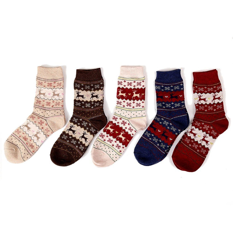 Luojida 5 Paia Donna Calze Natale Socks Calzini termici di Invernali Lana Miscelazione Colori multicolore)