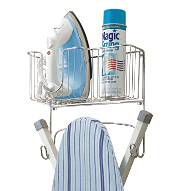 mDesign Wall Mount Wire Metal Ironing Board Holder with Large Storage Basket - Holds Iron, Board, Spray Bottles, Starch, Fabric Refresher for Laundry Rooms - Durable Steel, Chrome