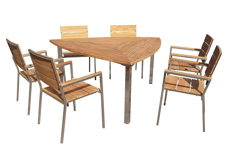 OUTFLEXX Sitzgruppe, natur, Edelstahl/Teak, 3-Eck Esstisch, 6 ...