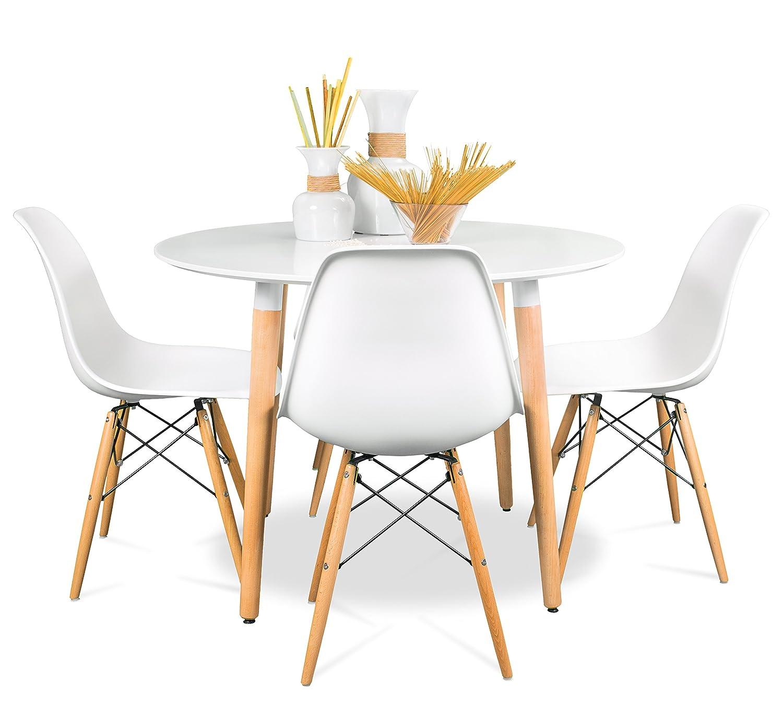 Conjunto de comedor de diseño nórdico NORDIK-MAX con mesa redonda ...