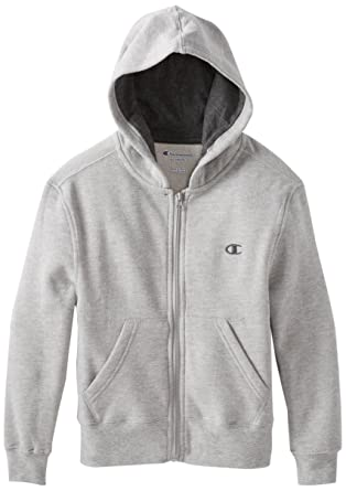 Champion Big Boys' Zip-Front Hoodie, Oxford Gray Heather, ...