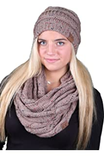 da88b0770 Funky Junque Womens Infinity Scarf and Slouchy Knit Beanie Matching Winter  Set