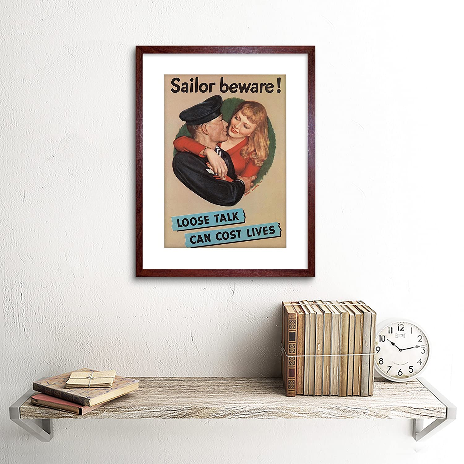 Amazon.com: WAR WWII LOOSE TALK COSTS LIVES SAILOR BEWARE FRAMED ART ...