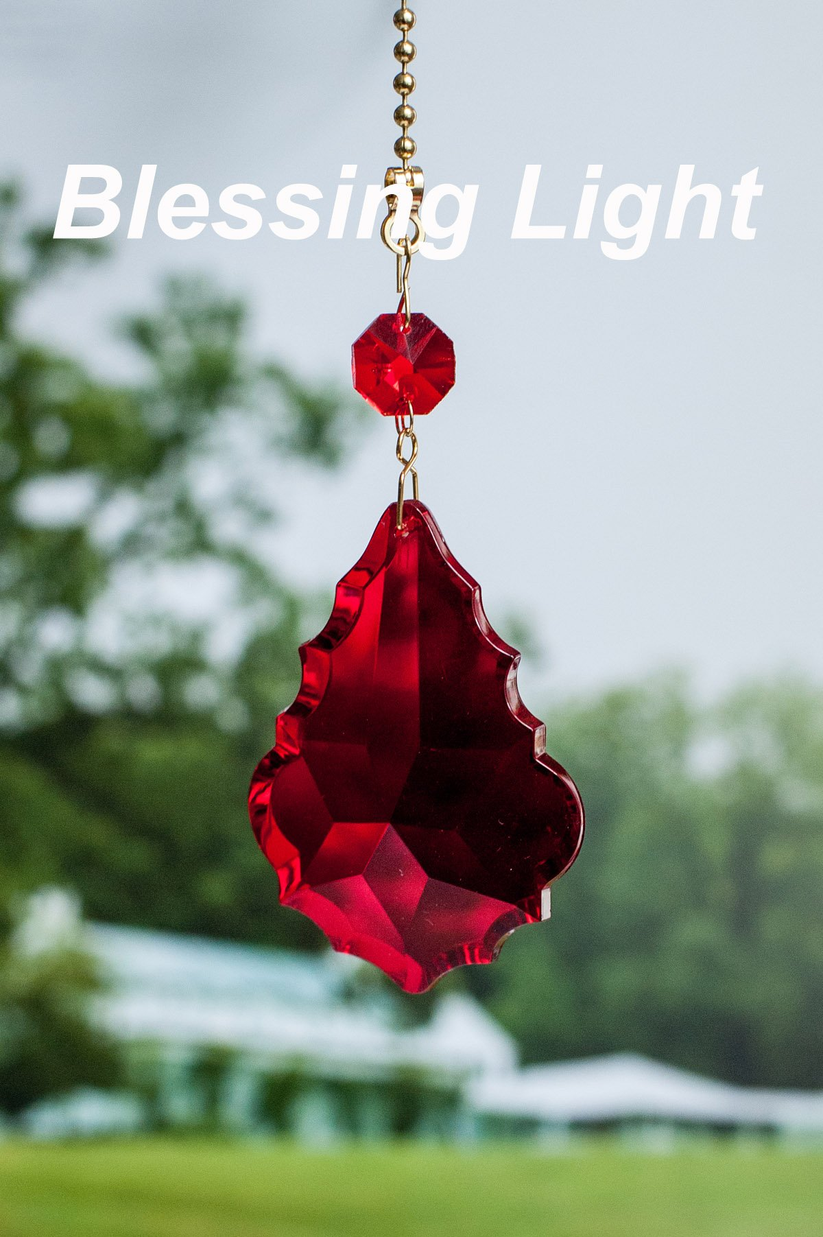 Set of 2 Red Acrylic Crystal Baroque Leaf Ceiling Lighting Fan Pull Chains by Blessinglight USA