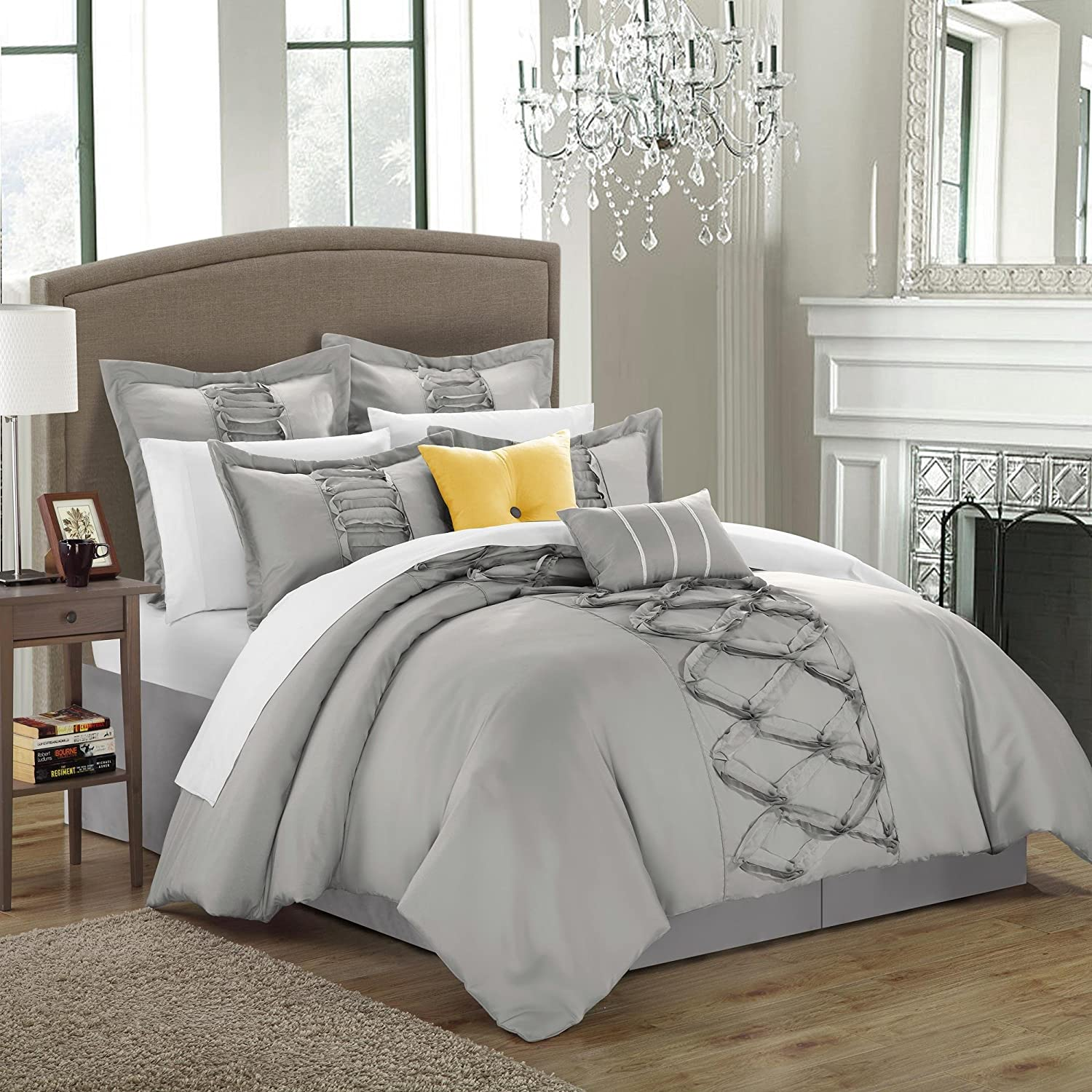 Amazon com ruth ruffled silver king 8 piece comforter bed in a bag set home kitchen