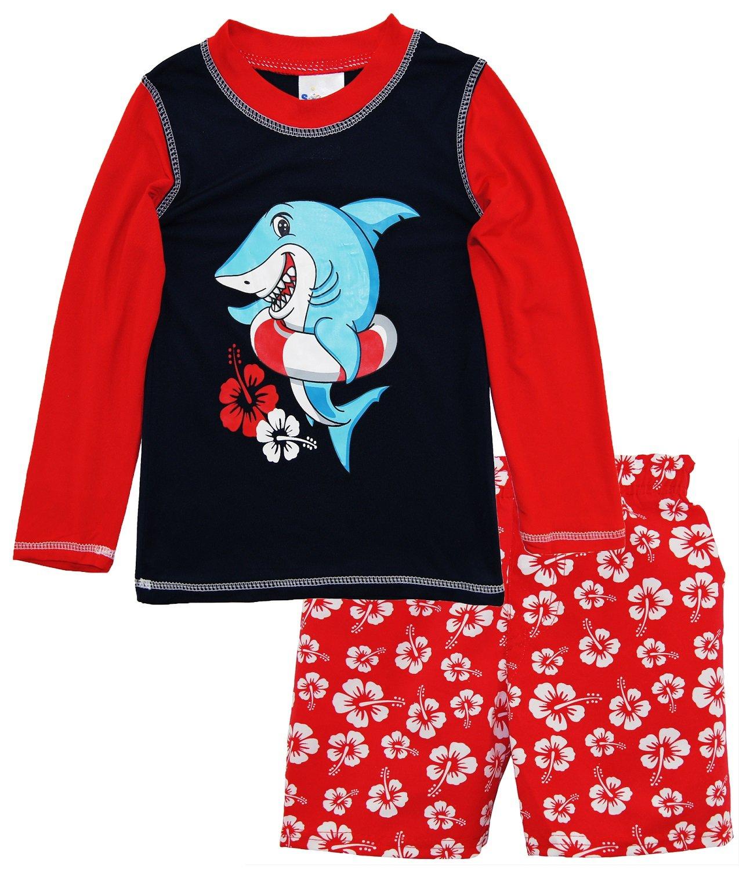 Sweet & Soft Little Boys Shark Long Sleeve Rash Guard Hibiscus Swim Trunk Set, Red, 2T