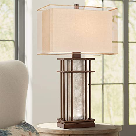 Rhodes Farmhouse Table Lamp With Nightlight Led Rustic Bronze Mica