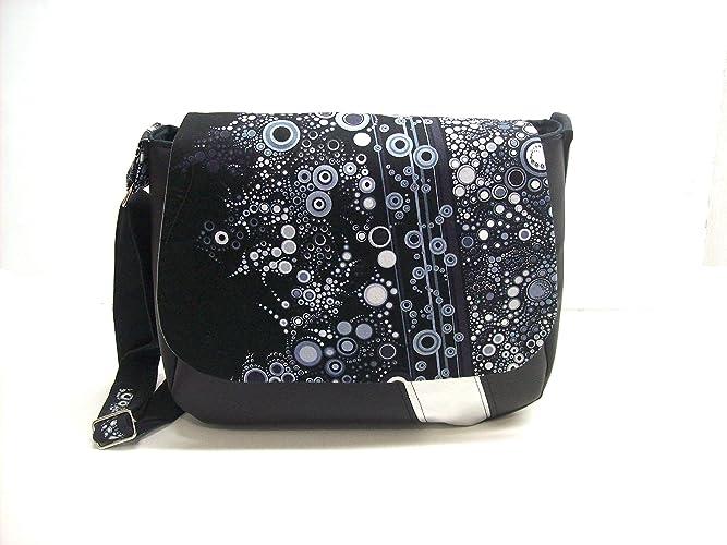 7a336a7ab89f sac besace femme noir et blanc a motifs bulles en simili cuir et tissu
