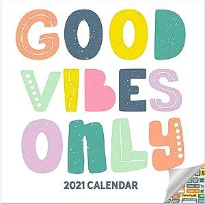 Good Vibes Calendar 2021 Bundle - Deluxe 2021 Inspirational Mini Calendar with Over 100 Calendar Stickers (Motivational Gifts, Office Supplies)
