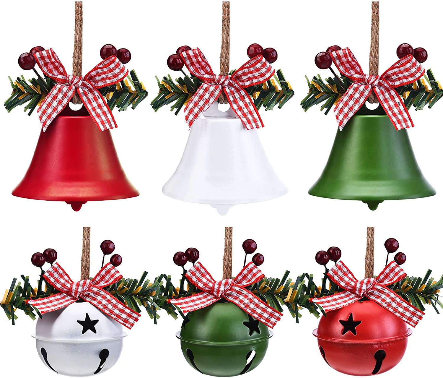6 Pieces Christmas Bells Ornaments Christmas Jingle Bells Craft Bells Star Cutouts Christmas Anniversary Bells with Holly Berry for Christmas Tree Decor Window Door Christmas Holiday Party Supplies