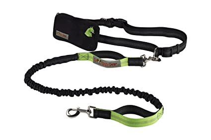 Jogging Training Reflective Adjustable Waist Belt Walking Chunky Paw Hands Free Dog Leash for Running Hiking up to 150 lbs Dogs Durable Dual Handle Bungee Waist Leash for Medium and Large Dogs