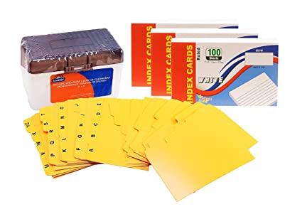 index cards 3x5 inch ruled white 100 count plastic