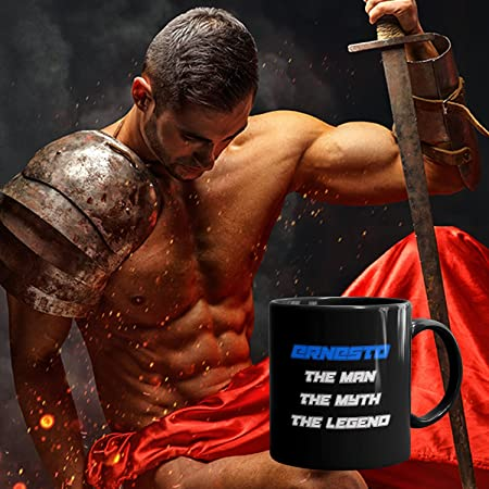 Ernesto Coffee Mug Tazas Negras Personalizadas con Nombres - The Man the Myth the Legend - Best Gifts Regalos for Men - 11 oz Black mug - Blue: Amazon.es: ...