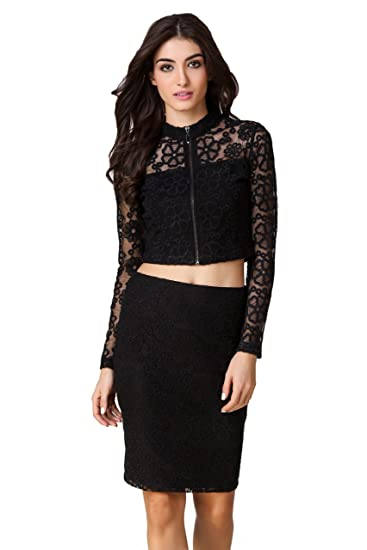 f9d81f9bceb99 TEXCO Black Floral Embroidered Lace Mock Neck Women Crop Tops  Amazon.in   Clothing   Accessories