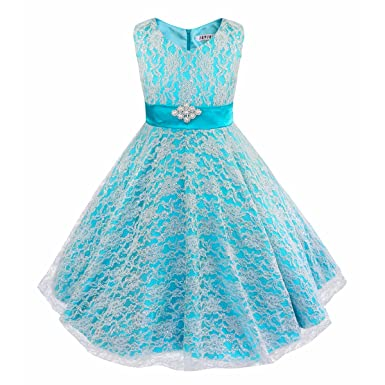 4193beb4dfe iEFiEL Kids Big Girls V-Neck Lace Flower Dress Graduation Pageant Ball Gown  Blue 4