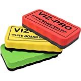 VIZ-PRO Magnetic White Board Eraser, 3 Colored Eraser, 3 Piece