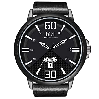 40ea270cb Menton Ezil Men's Sport Leather Strap Analog Quartz Waterproof Watches Auto Calendar  Wrist Watch for Teen