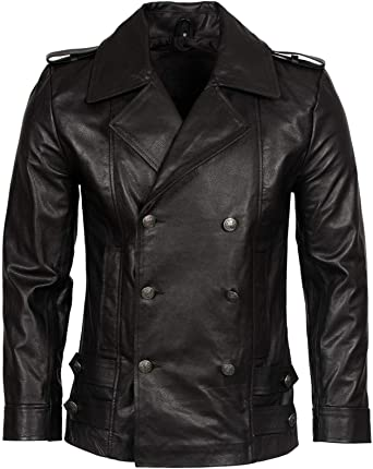 Military Black Men/'s Gents Smart Casual Classic Real Cow Hide Leather Jacket