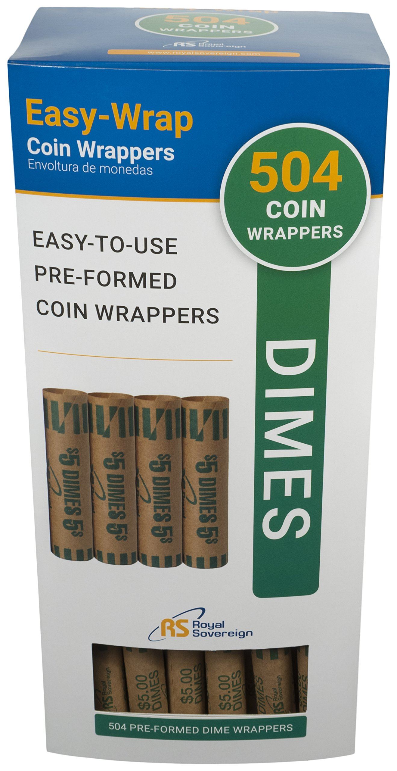Royal Sovereign Preformed Coin Wrappers, 504 Dime Coin Wrappers (FSW-504D)
