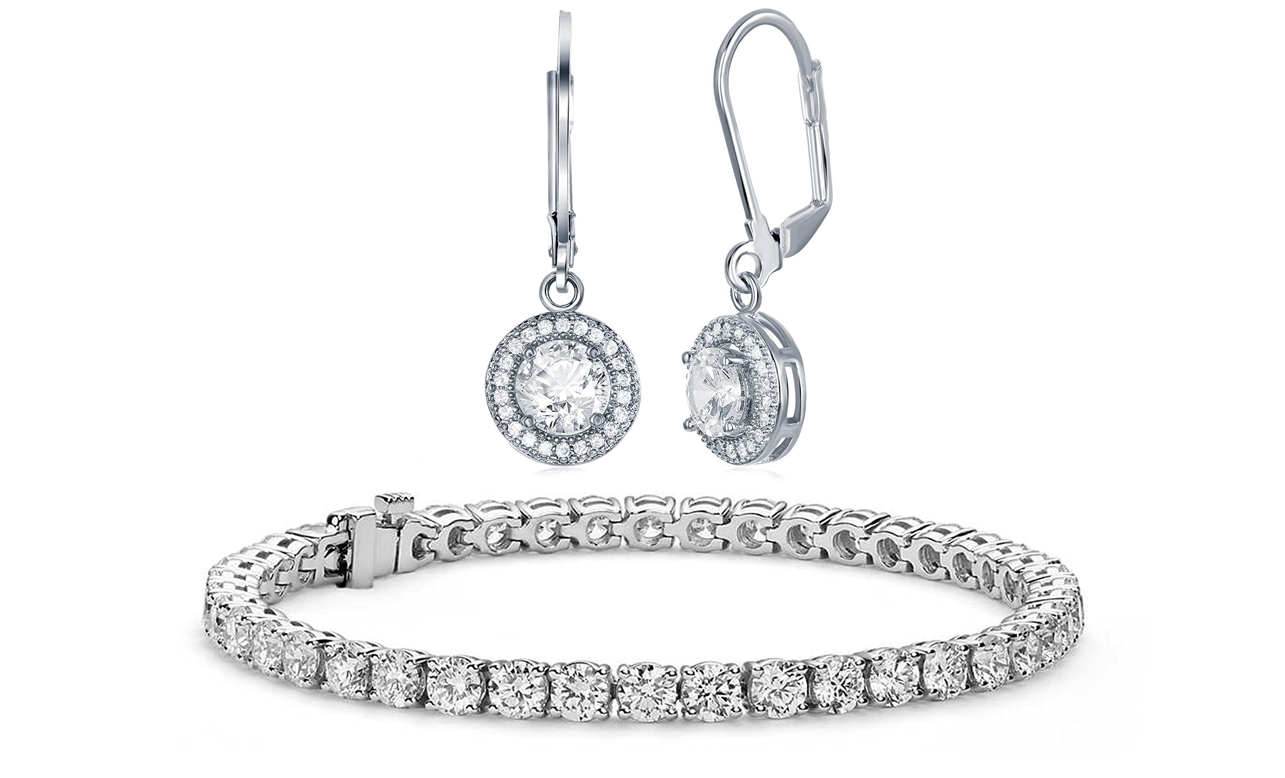 NYC Sterling Halo Drop Earrings and Tennis Bracelet Bridal Gift Set (Round Cut)