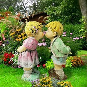 CT DISCOUNT STORE Garden Statue Kissing Boy and Girl Scupture Romantic Young Sweetheart in The Garden Outdoor Yard Decoration16 Inch