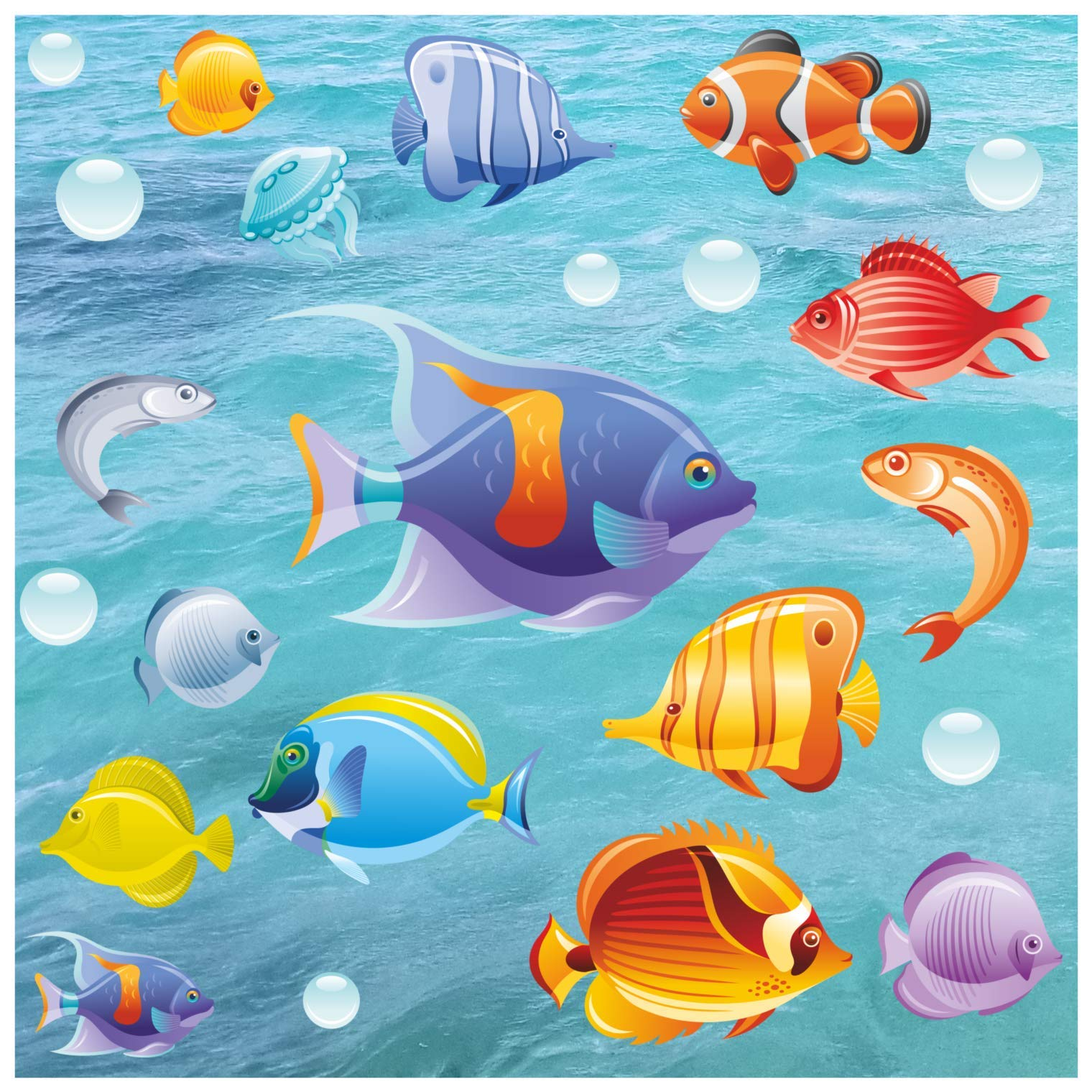 Kids Bathroom Tile - Window - Shower Door or Screen Decorative Tropical Fish Stickers | Double Sided Glass Window clings Removable Colorful Under The sea Collection - No Adhesive Static Cling by Window Flakes
