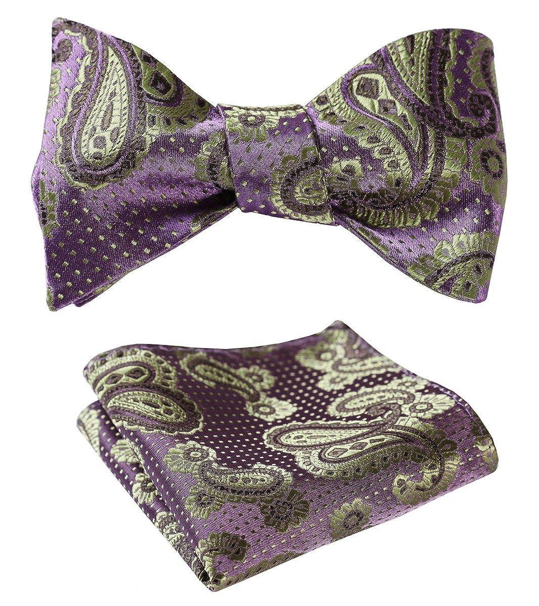 Green BIYINI Mens Paisley Floral Jacquard Woven Wedding Party Self Bow Tie Set Purple