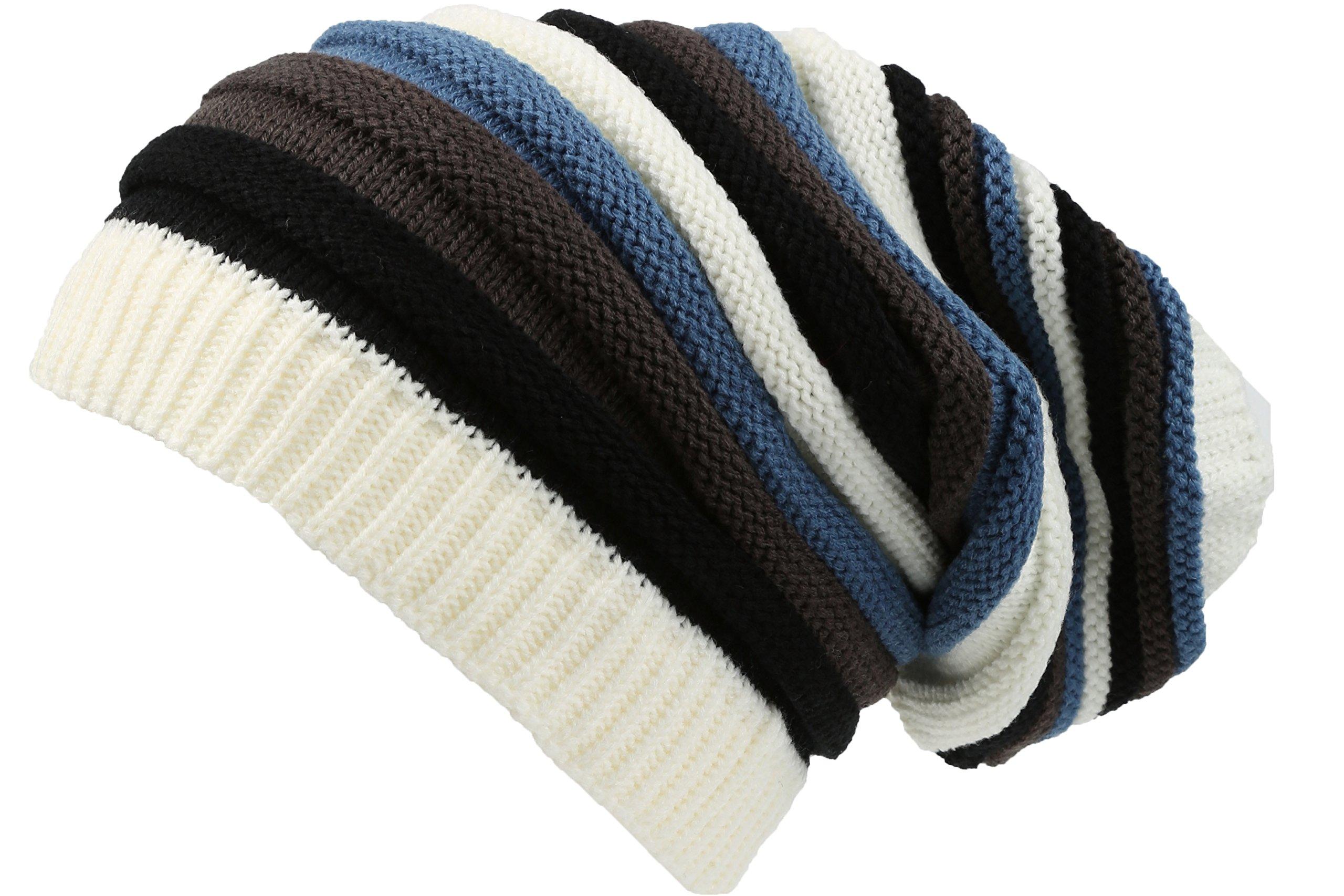 Sakkas 16144 - Ceelo Long Tall Slouchy Unisex Striped Ribbed Kint Adjustable Beanie Hat - Cream / Blue - OS