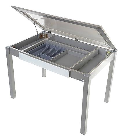 Portus Salsa - Mesa de cocina fija, 110 x 70 cm, cajón duplo y ...
