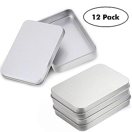 Pack 12 Piezas Latas Pequeñas Rectangulares de Metal - Latas Vacías Tapas sin Bisagras para Menta Tabaco por Kurtzy - Contenedores 9cm x 6cm x 2cm ...