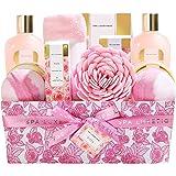 Spa Luxetique Rose Spa Gift Basket, Home Bath Set Includes Massage Oil, Bath Salt, Bubble Bath, Best Gift Baskets for Women