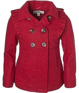 68d909ebd0bf Cremson Girls  Wool Blend Hooded Ruffle Winter Dress Pea Coat Jacket