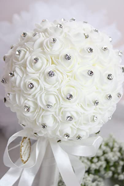 Brautstrauss Rosenball Mit Diamanten 16cm Kunststoff Weiss Amazon