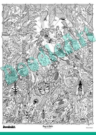 Buy The Original Doodle Art Bugs N\' Birds Adult Coloring Poster ...