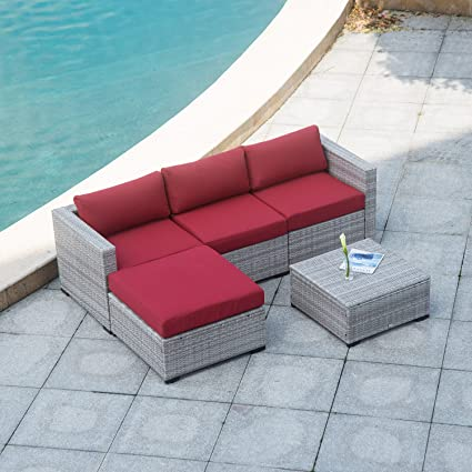 AURO Outdoor Furniture Sectional Sofa Conversation Set (5 Piece Set) All  Weather