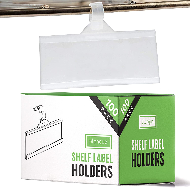 PLANQUE Professional Label Holder, Shelf Labels Holder w Easy Clip Design Snap Lock Closure, Label Holders for Wire Shelves & Baskets, Premium Plastic Label Holder, Retail Price Tag Holder (100 Pack)