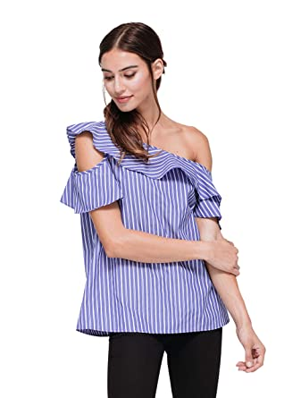 ccd6c37132d3b Pleione Ruffle Sleeve with One Open Shoulder at Amazon Women s Clothing  store