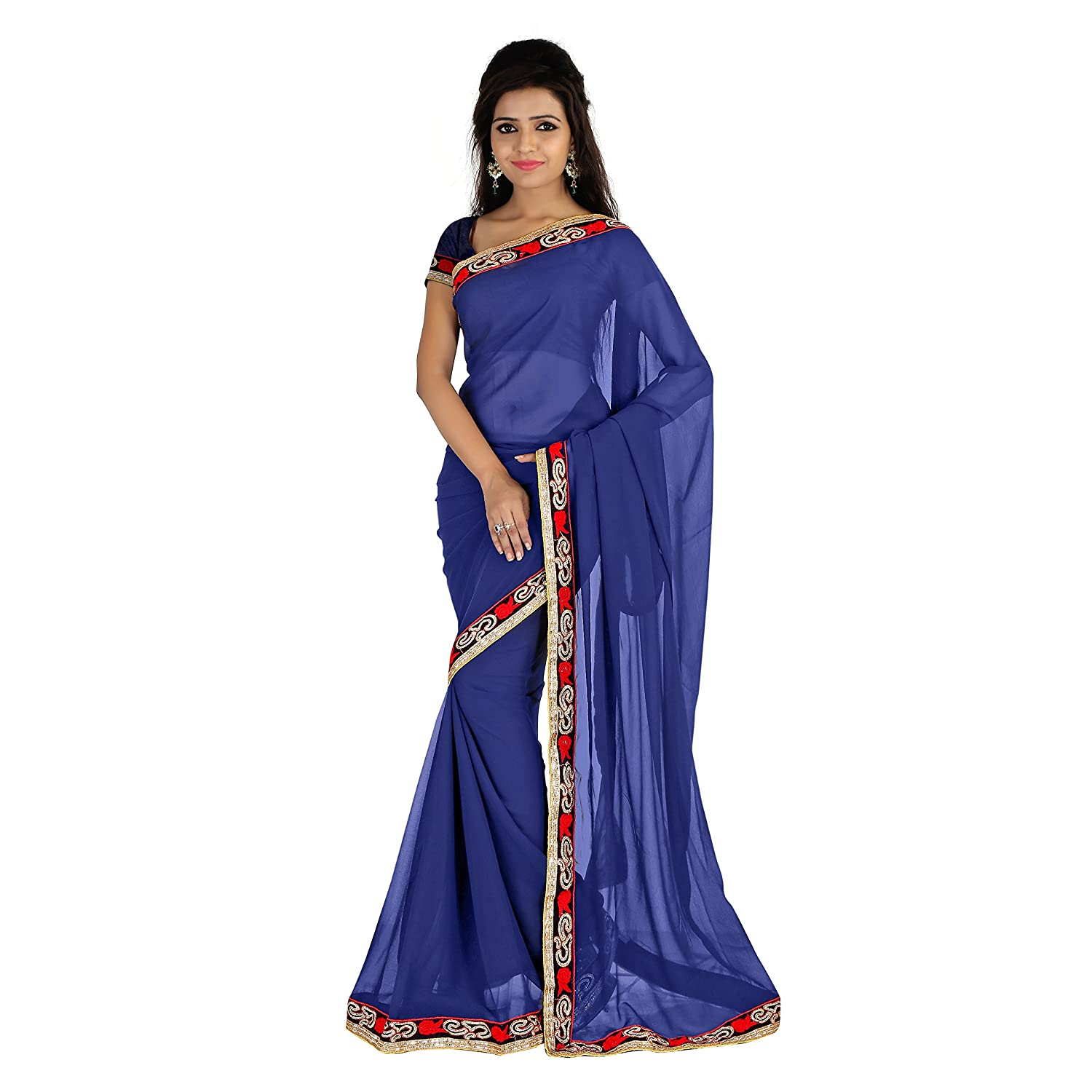 Florence Women's blue Chiffon embroidered Printed Saree With