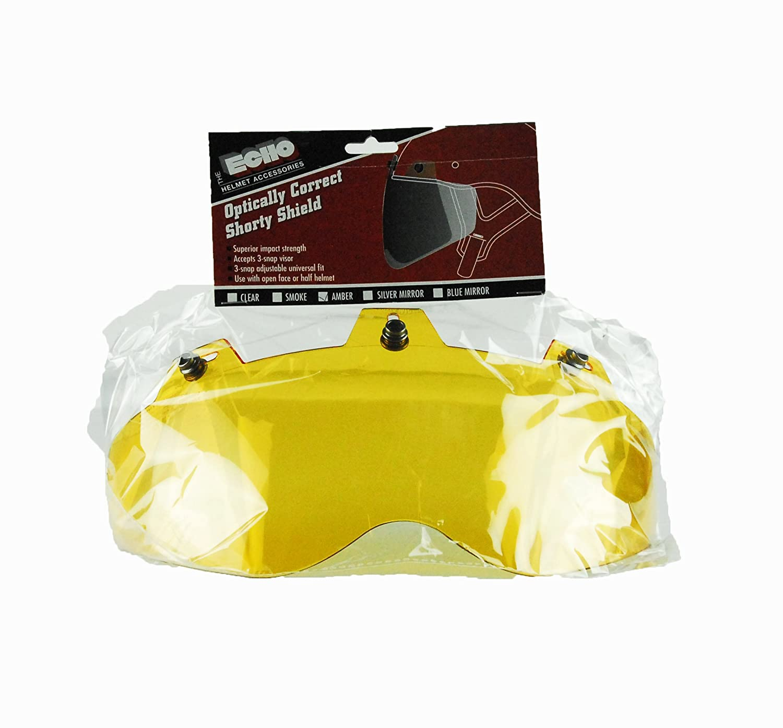 Echo Motorcycle Half Helmet Open Face 3 Snap Shorty Universal Shield Amber
