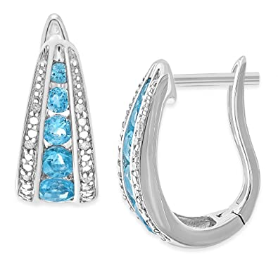 909e05258 Image Unavailable. Image not available for. Color: Sterling Silver Natural  Swiss Blue Topaz 1.62 CT & Diamond Accent Graduated Huggie Earrings