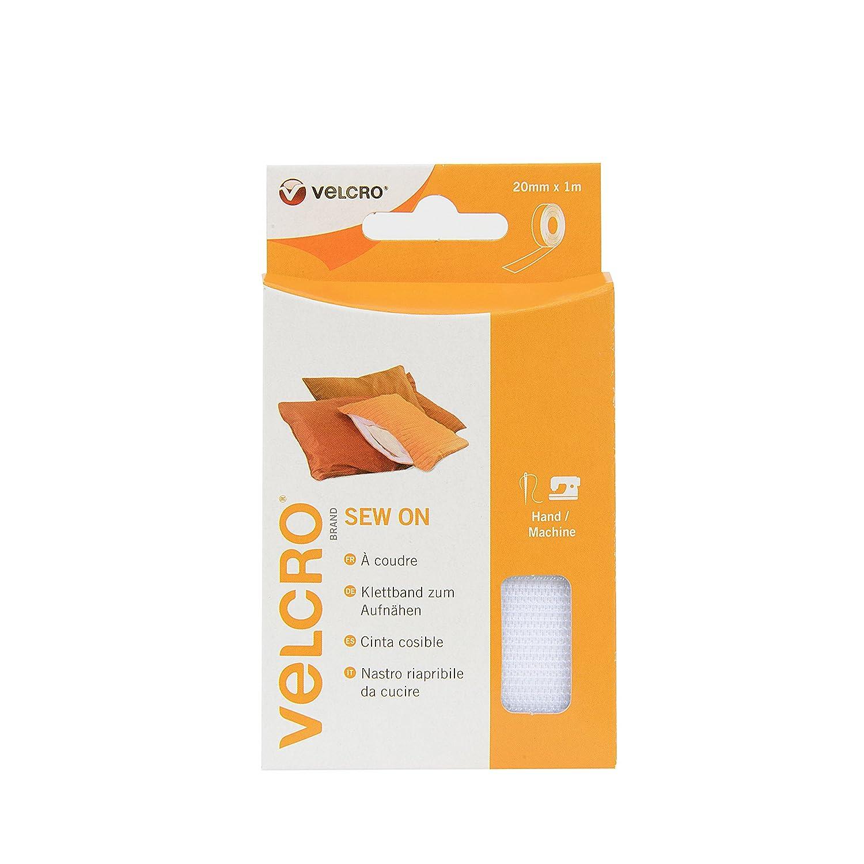 VELCRO Brand Dischetti riapribili da cucire 20mm x 10m Bianco VEL-EC60282