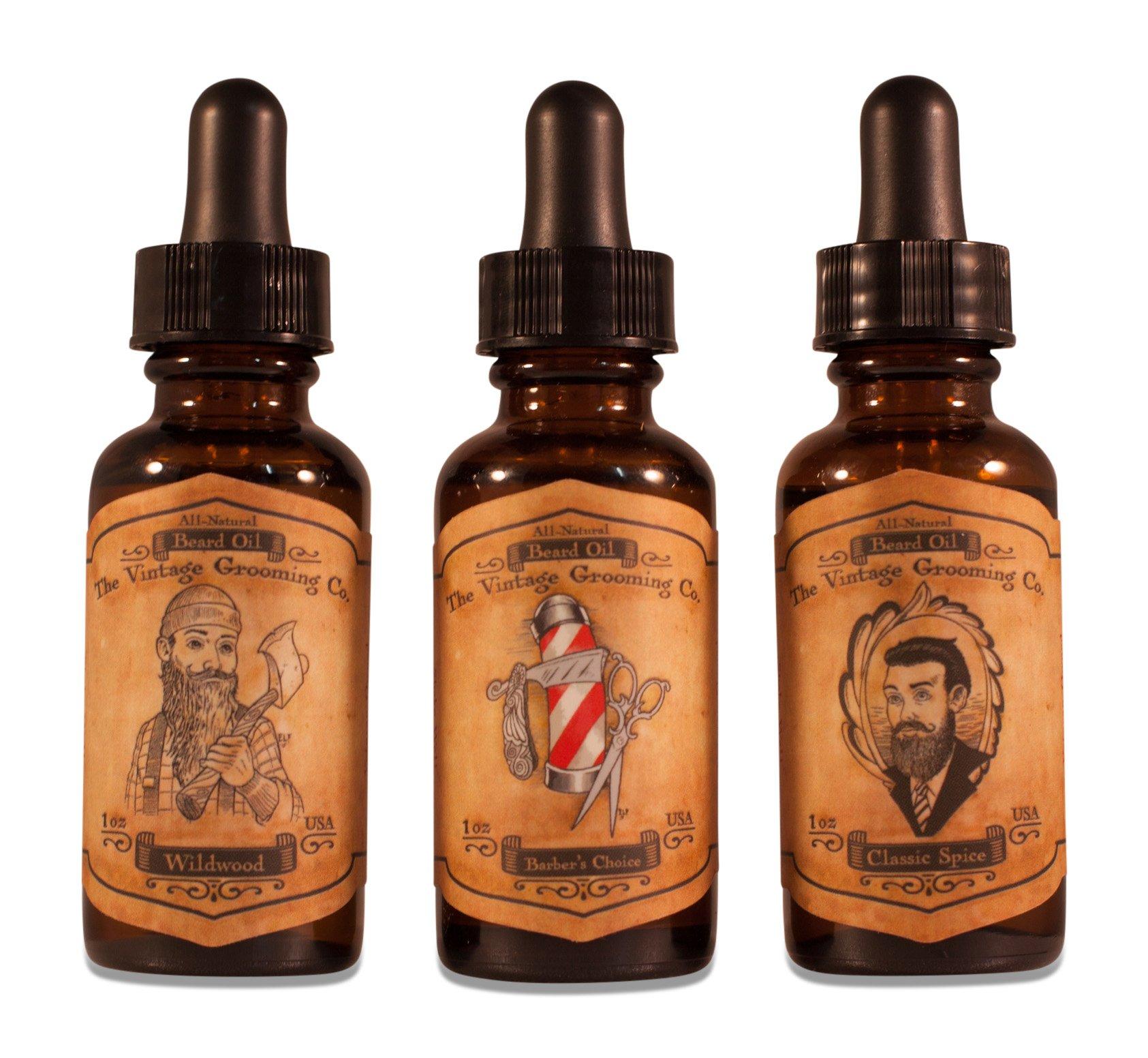 Vintage Beard Oil Trio (1oz ea per bottle) All-Natural