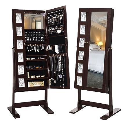 SONGMICS 18 LED joyería gabinete armario 2 puertas de pie de ...