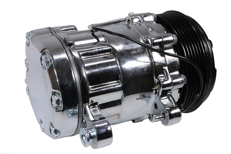 NEW CHROME UNIVERSAL SANDEN SD-7B10 A/C COMPRESSOR VINTAGE AIR SERPENTINE BELT DEMOTOR