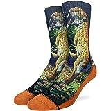 Good Luck Sock Men's Saber-toothed Cat Socks - Orange, Adult Shoe Size 8-13